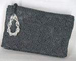Intricately Crocheted Vintage 40s Clutch Lucite Pull