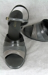 Black and Gray Vintage 60s Chunky Heel Sandals