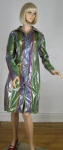 Shiny Plastic Vintage 70s Striped Spring Rain Coat