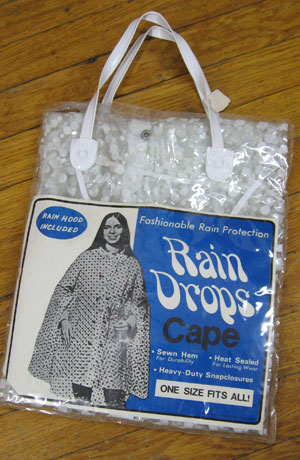 Polka Dot Vintage 60s Clear Rain Coat Cape