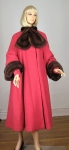 Pinky Coral Vintage 40s/50s Swing Coat Fur Ascot