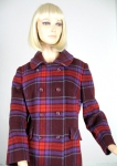 Vivid Plaid Vintage 60s Double Breasted Coat