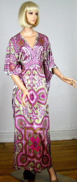 Lush Paisley Vintage 70s Scarf Print Caftan Gown